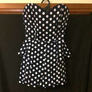 Polka Dot Playsuit Navy