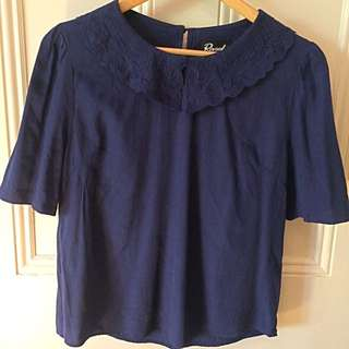 Navy Blue Revival Blouse With Embroidered Collar