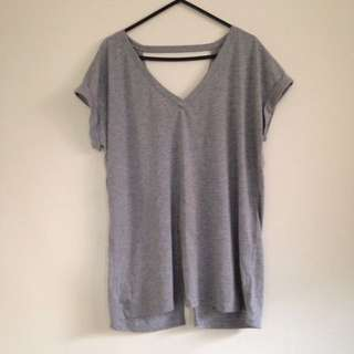 Misguided Grey Tshirt Open Back Top