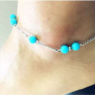 Silver Plated Beaded Ankle Bracelet
