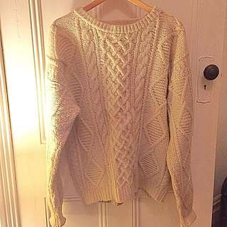 Vintage Cable Knit Cream Wool Jumper