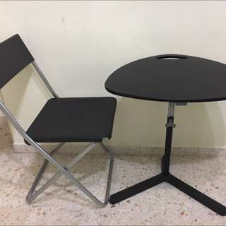 Plastic Chair and Laptop Table