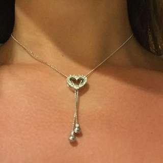 Adjustable Diamanté Love Heart Necklace