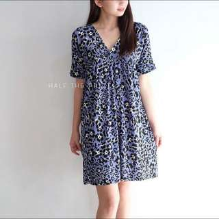 HTP Blue Floral Vneck dress