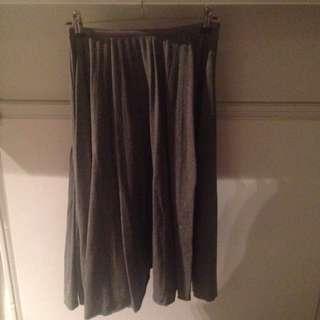 Grey Pleated Midi Skirt