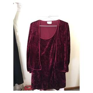 Velvet 2 Piece Dress & Cardi