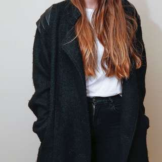 Motel Rocks- Wool Mix And Leather Look Winter Coat