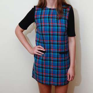 Multi Colour Check Shift Dress With Black Sleeve