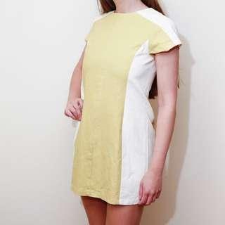 Mini Mod Dress In Mustard Yellow And Cream