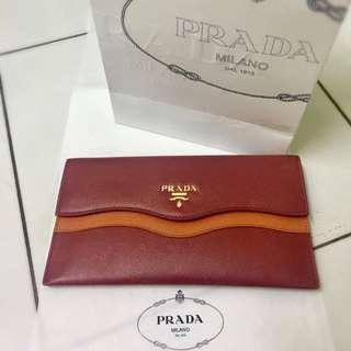 Prada Envelope Wallet Duo Color (Red X Orange)