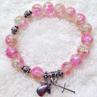 Pink And Yellow Ombre Beads Rosary Bravelet