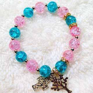 Pink And Blue Beads Rosary Bracelet