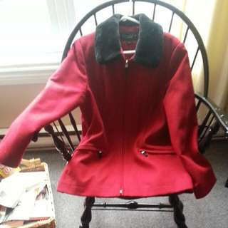 Red Coat With Black Collar
