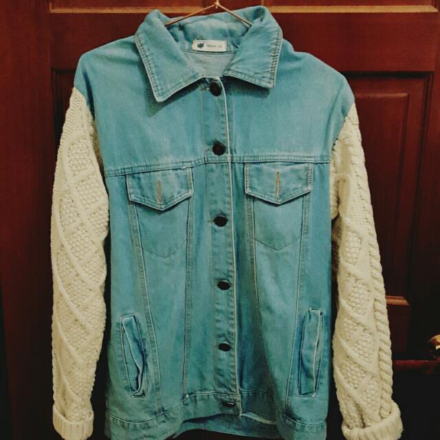針織單寧牛仔外套