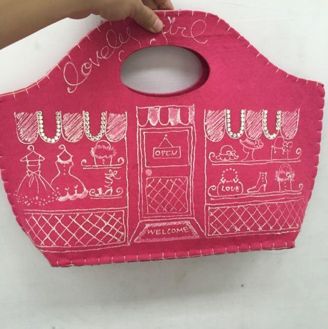 桃紅羊毛氈手繪風包包