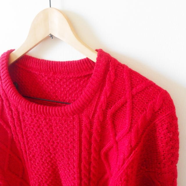 麻花寬鬆針織毛衣