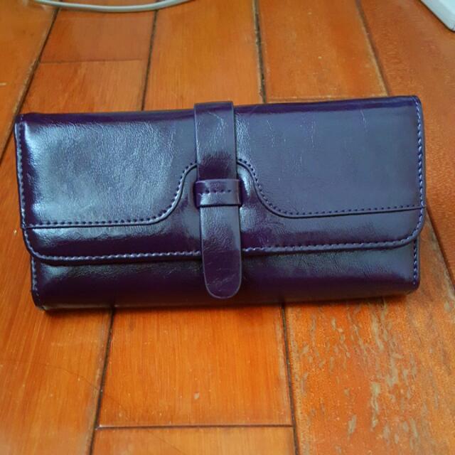 全新深紫色流行長夾 錢包