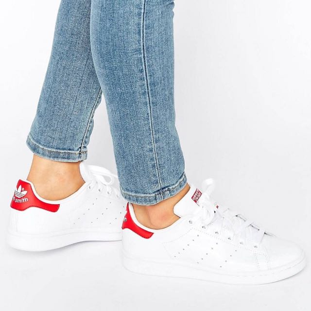 Adidas originals Red & White Stan Smith Trainers