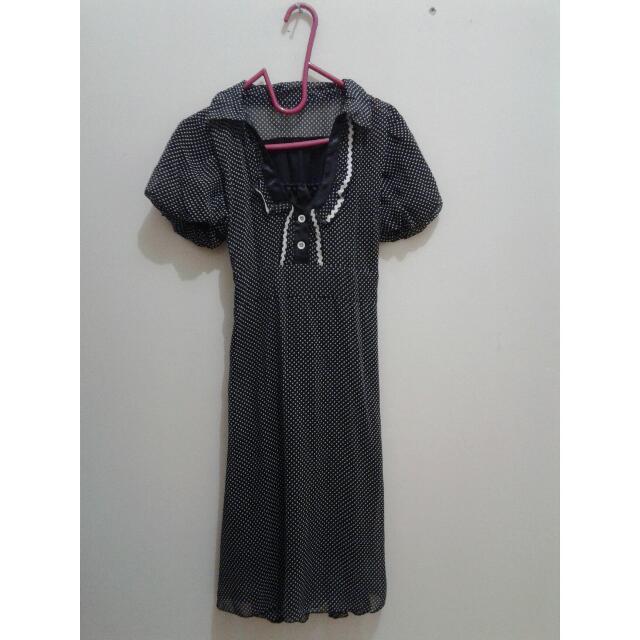 Baju Polkadot black dress