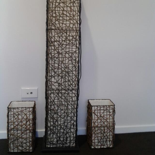 Balinese Brown Wicker 1xFloor Lamp And 2xTable Lamps