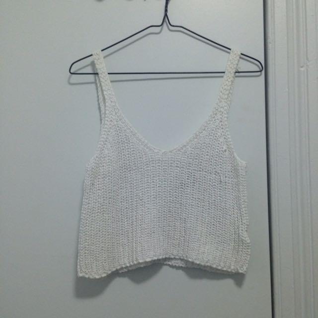 Bardot White Crochet Top