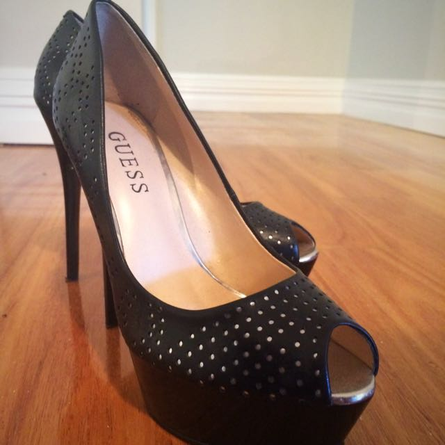 Black And Silver Guess Stilettos
