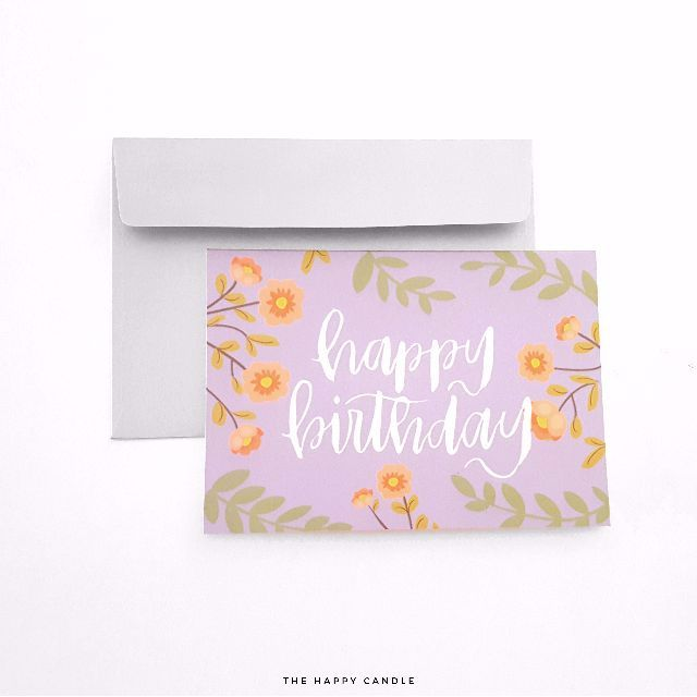 Brush Lettering Birthday Card (Floral) - Sold