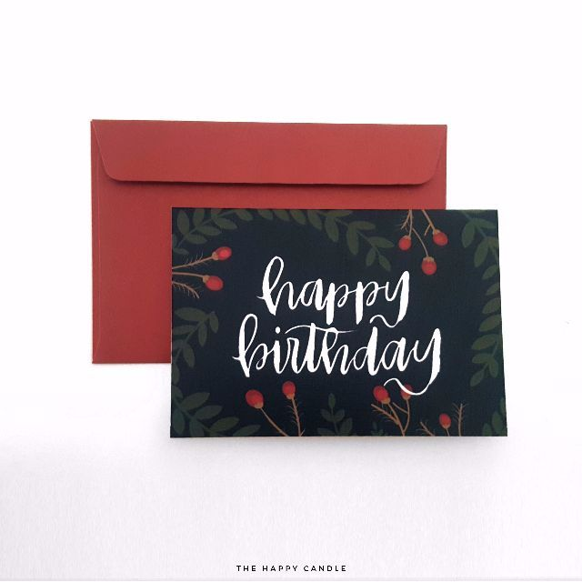Brush Lettering Birthday Cards (Berries and Floral) - Sold