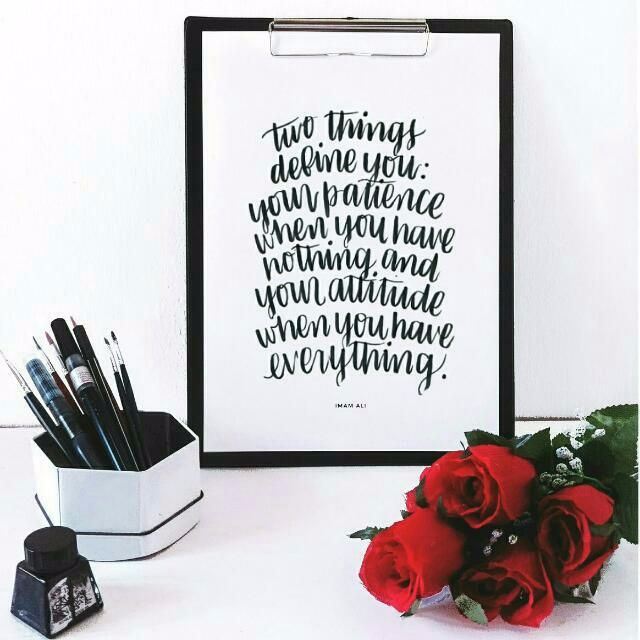 Brush Lettering Print (Patience & Attitude) (With Frame) - Sold