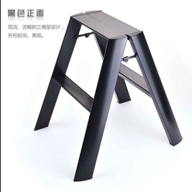 Fine Hasegawa Lucano 2 Steps Ladder Stool Stepstool Black White Cjindustries Chair Design For Home Cjindustriesco