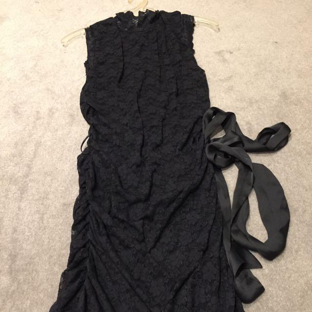 High Neck Black Lace Dress Size s