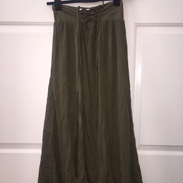 Khaki Slit Long Skirt