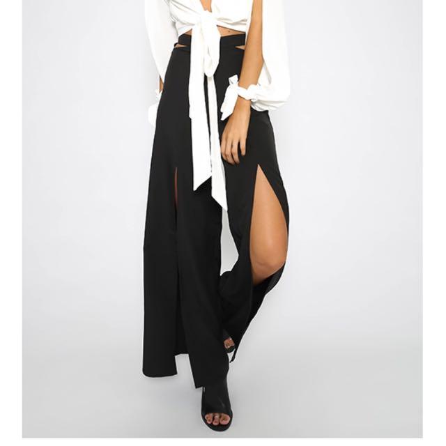 Long Black Pants With Slits
