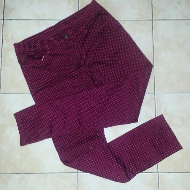 Maroon Polka Dot Pants