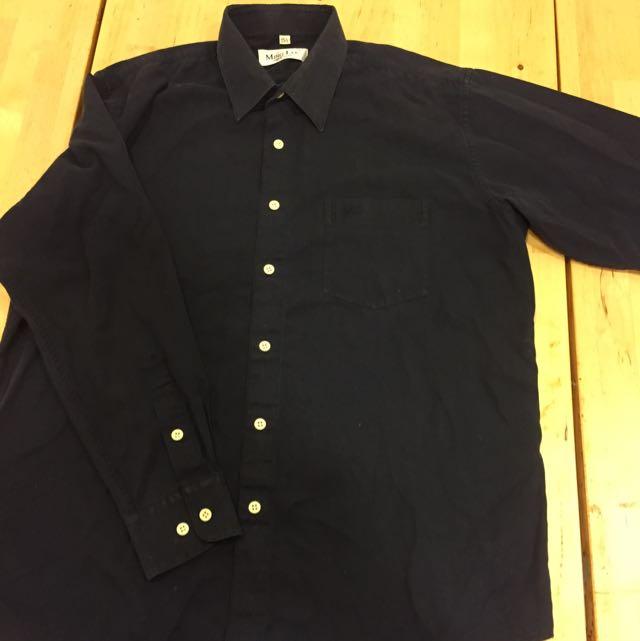 Ming Lee 黑灰襯衫 Size M, Neck 15 1/2 NT200 (二手)