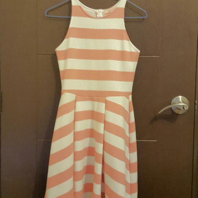 Peach Colored Stripe Dress