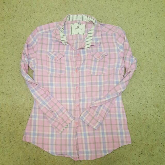 Pink Flannel Shirt Fits Size 4 To 6