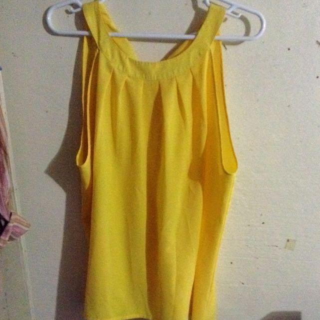 Plus Size Yellow Halter Blouse