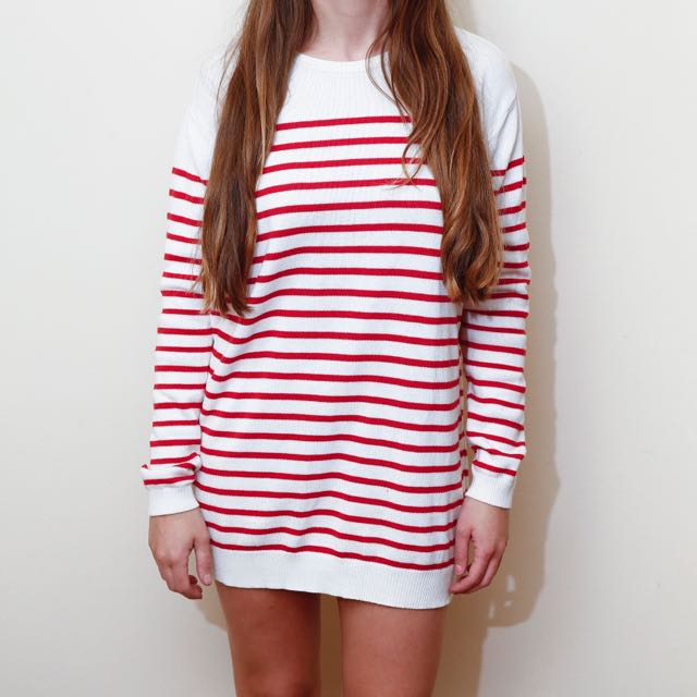 Red And White Stripe Knit Long Sleeve Shift Dress