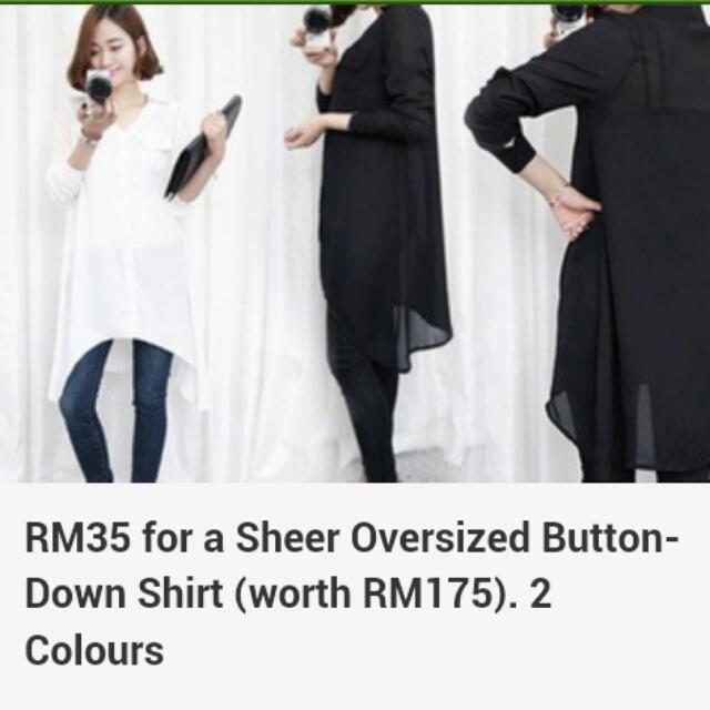 Sheer Oversized Button-down Shirt