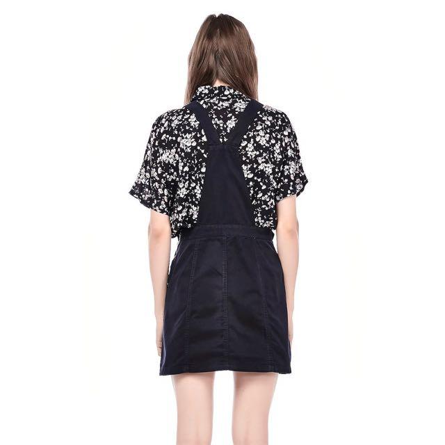 the editor's market black devon dungaree dress