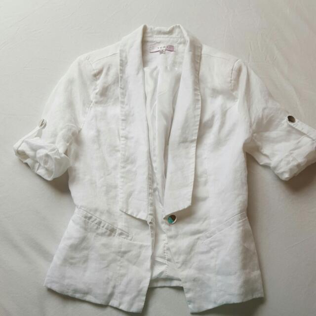 White Short Sleeve Jacket Size 8