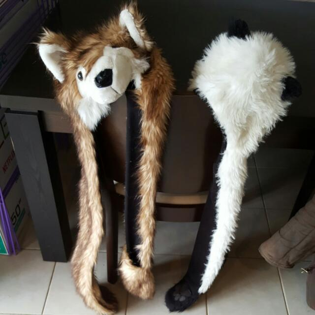 Wolf And Panda Hat-scarf Costumes