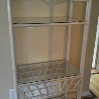 Bamboo Bakers Rack With Glass Shelves
