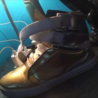Supra Gold And Sliver Shoes