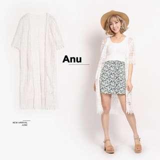 Major Made Anu 幾何花花蕾絲長版罩衫 白