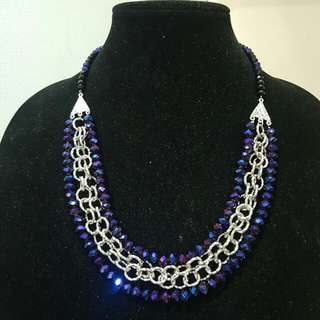 Hand Made Bead And Chain Necklace