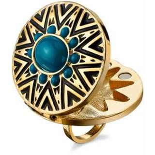 House of Harlow 1960 Gold Tribal Locket Ring in Turquoise