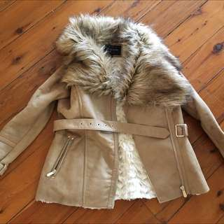 River Island Winter Fur Coat Jacket Top Size 10 Amazing Brown
