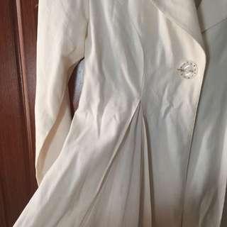 Cream Color Long Blazer